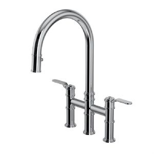 4549HS Perrin & Rowe Armstrong Kitchen Bridge Mixer Tap with Pull Down Rinse - Smooth Handle
